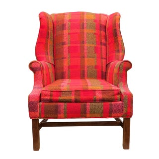 Vintage Mid-Century Flexsteel Georgian Style Wingback Chair For Sale