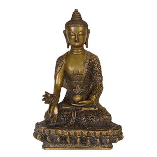 Antique Tibetan Carved Bronze Buddha Statuary For Sale