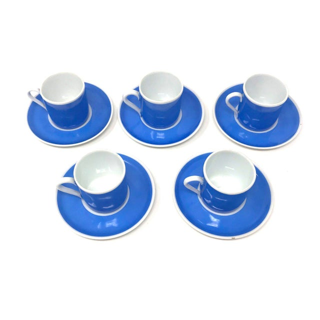 Ceramic Set of Five Vintage Czechoslovakian Espresso Cups With Saucers For Sale - Image 7 of 7