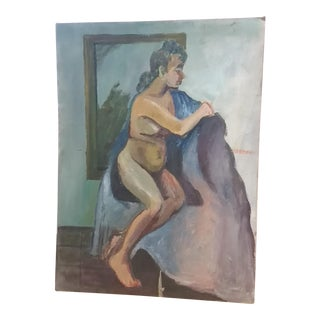 Nude Oil on Board Painting, 1940s For Sale