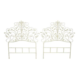 Mid 20th Century Vintage Italian Rococo Hollywood Regency Iron Twin Bed Headboard - a Pair For Sale