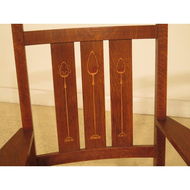 Stickley Harvey Ellis Inlaid Mission Oak Dining Room Chairs- Set of 8