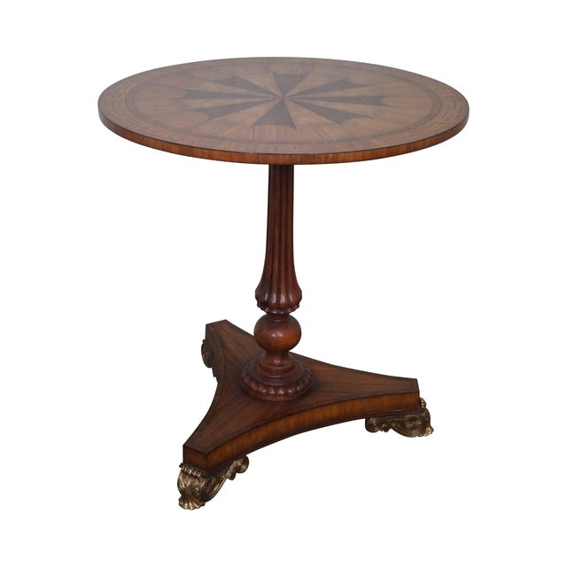 Maitland Smith Inlaid Top Regency Style Table For Sale