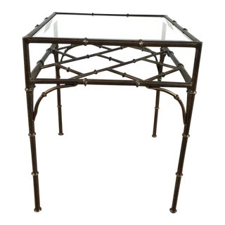 Contemporary Metal Form Bamboo & Glass Top Side Table For Sale