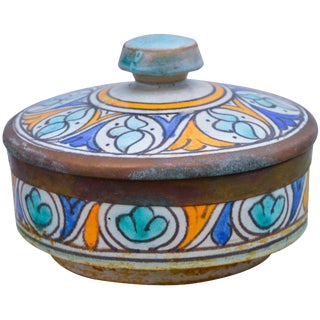 Afro-Moresque Ceramic Lidded Bowl For Sale