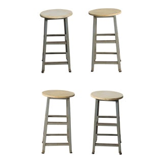 Industrial Counter Height Stools Vintage Patinated Steel With Distressed Wood Seats Set 4 For Sale