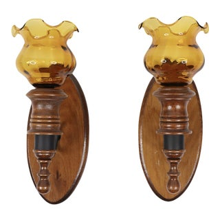 1960s Vintage Mid-Century Modern Wood Amber Glass Candle Holder Wall Sconce - a Pair For Sale