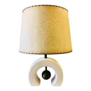 1950s Memphis Style Porcelain and Brass Lamp with Fiberglass Shade.