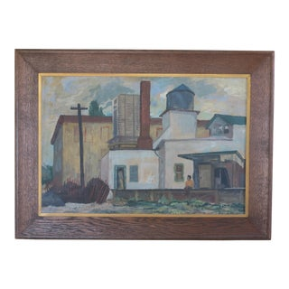 """1940s Industrial """"Railroad Siding"""" Painting on Board by John Fowler For Sale"""
