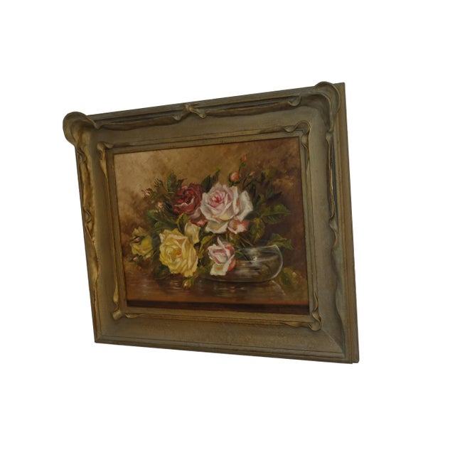 Classic early 20th century still life painting of roses in a glass bowl. Oil on canvas in original pie crust frame. Signed...