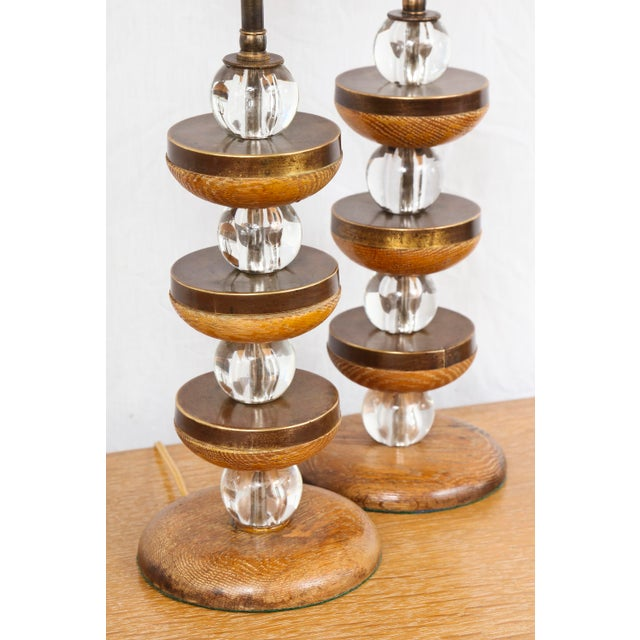 Contemporary Pair of Sculptural Cerused-Oak Lamps For Sale - Image 3 of 5