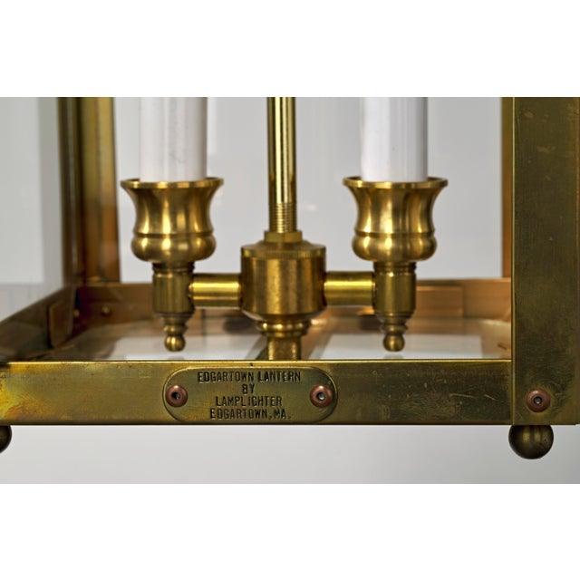 Late 20th Century Traditional Brass and Glass Two Light Lantern For Sale - Image 12 of 13