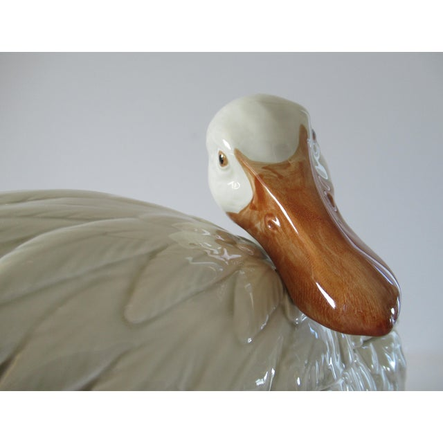 Vintage Fitz & Floyd Duck Ceramic Soup Tureen With Ladle For Sale In West Palm - Image 6 of 13