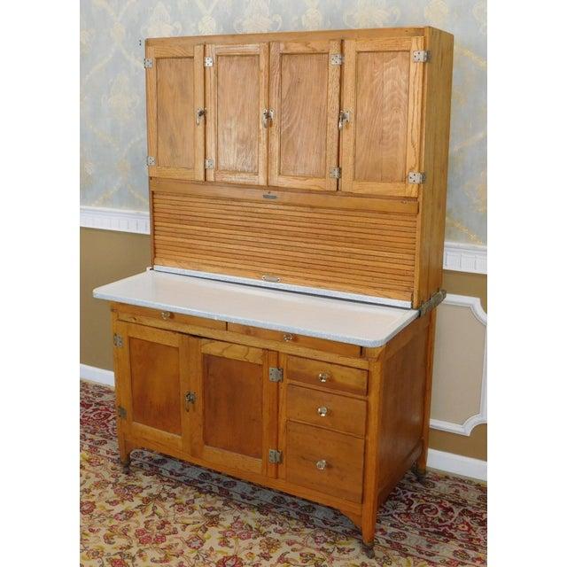 Antique Oak Sellers Indiana Hoosier Cabinet C1900 For Sale - Image 9 of 11