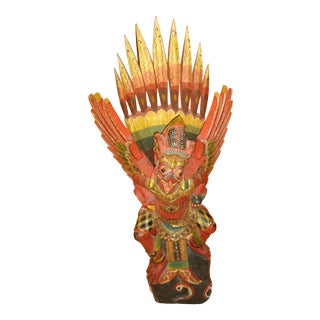 Vintage Indonesian Hand Carved Garuda Figurine For Sale