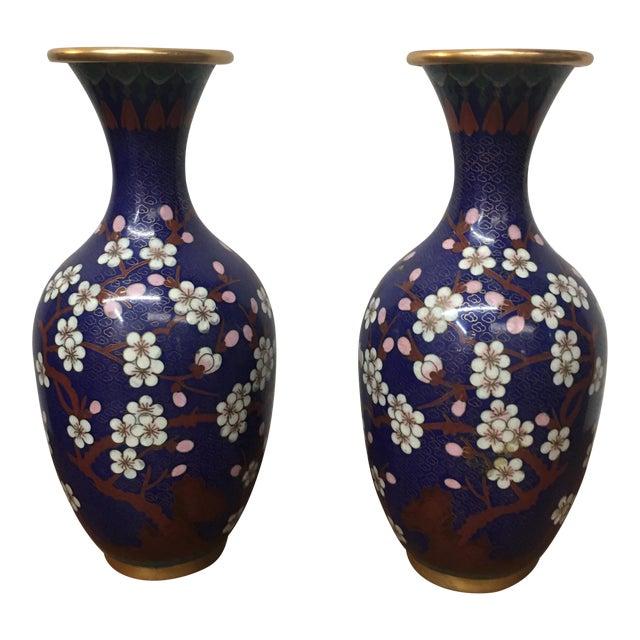 Cloisonné Vintage Vases - A Pair - Image 1 of 8