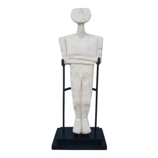 1990s Figurative Man on Iron Stand Sculpture For Sale