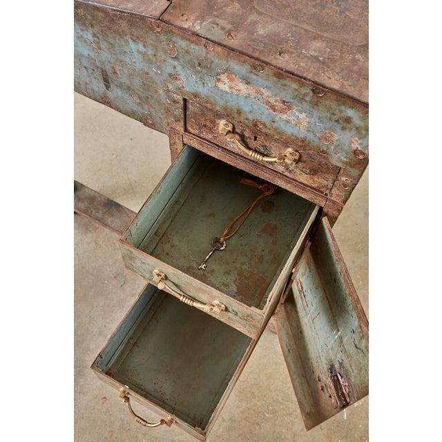 Verdigris 19th Century English Iron Bronze Industrial Davenport Desk For Sale - Image 8 of 13