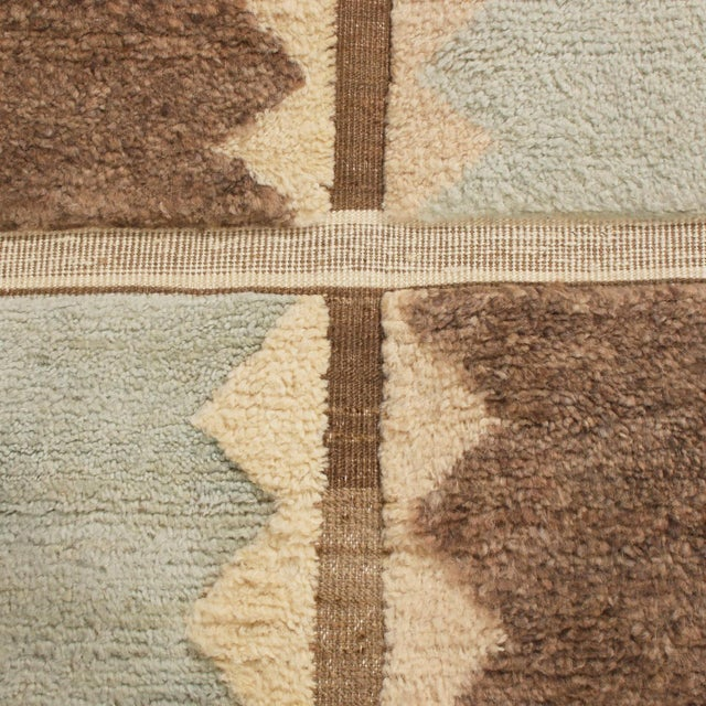 Anglo-Indian Rug & Kilim's Scandinavian-Inspired Geometric Gray and Blue Wool Pile Rug For Sale - Image 3 of 6