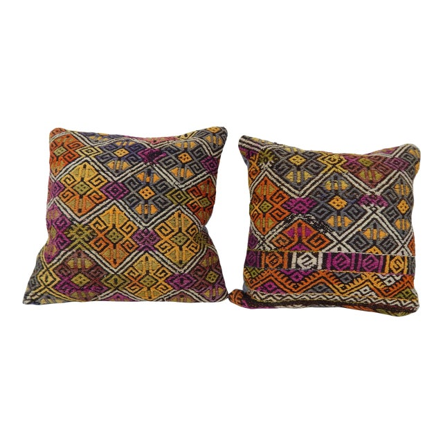 """Turkish Kilim Pillow Cover - a Pair 18"""" X 18"""" For Sale"""