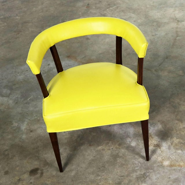 Mid Century Modern Yellow Vinyl and Oak Barrel Back Side Chair For Sale - Image 12 of 13