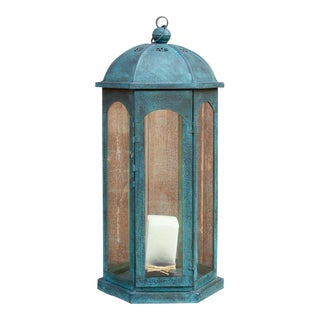 Azure Acanthus Glass Lantern For Sale
