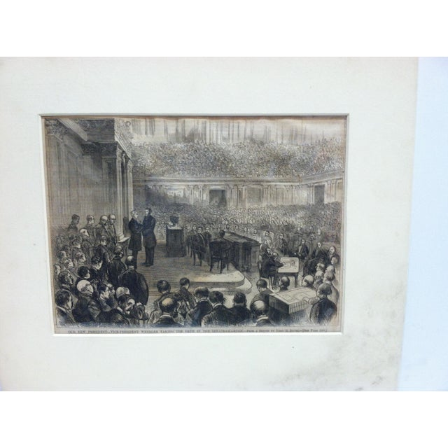 """This is a Matted Antique Harper's Weekly Print that is titled """"Our New President - Vice President Wheeler taking the Oath..."""