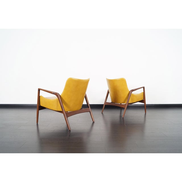 Wood Danish Modern Leather Lounge Chairs by Ib Kofod Larsen For Sale - Image 7 of 13