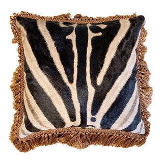 """One of a Kind Zebra Pillow, 19"""" For Sale"""
