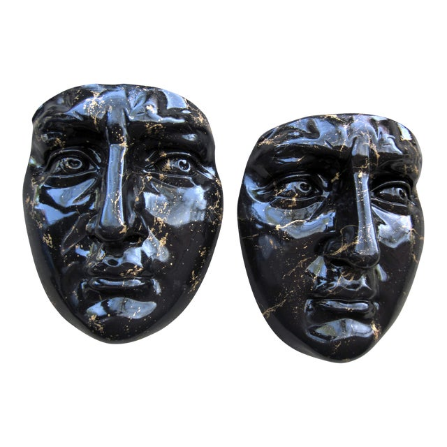Late 20th Century Black and Gold Splatter Paint Plaster Face Mask Wall Sculptures - a Pair Fornasetti Style For Sale