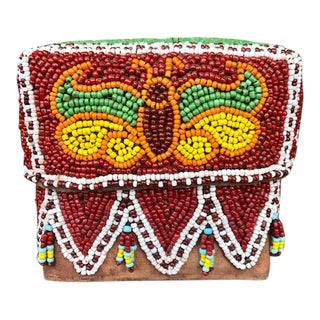 Vintage Red Indonesian Hand Beaded Basket With Lid For Sale