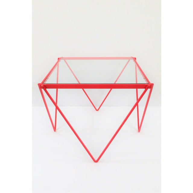A great Post-Modern [Postmodern] Minimalist red enamel metal side table, end table, or drinks table, in the style of...