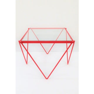 '80s Post-Modern Red Enamel Side Table or End Table Preview