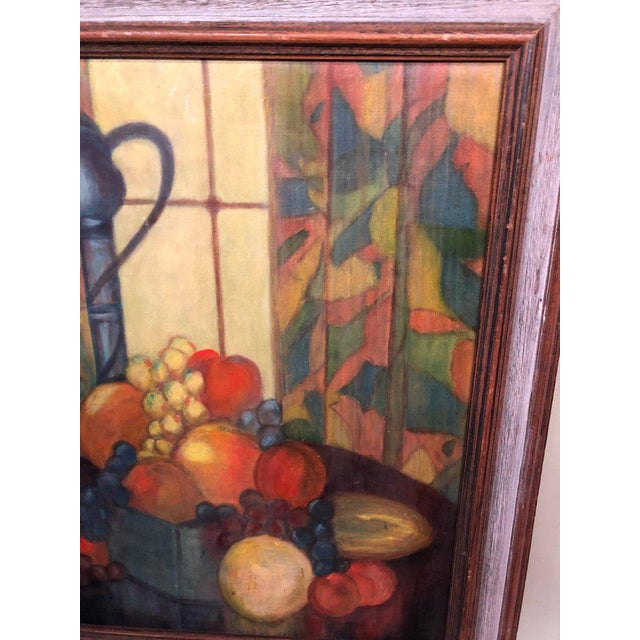 Paint Vintage Mid-Century Still Life on Board Painting For Sale - Image 7 of 13