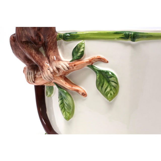 Bamboo Octagonal Ceramic Planter With Monkey and Bamboo - Made in Italy For Sale - Image 7 of 11