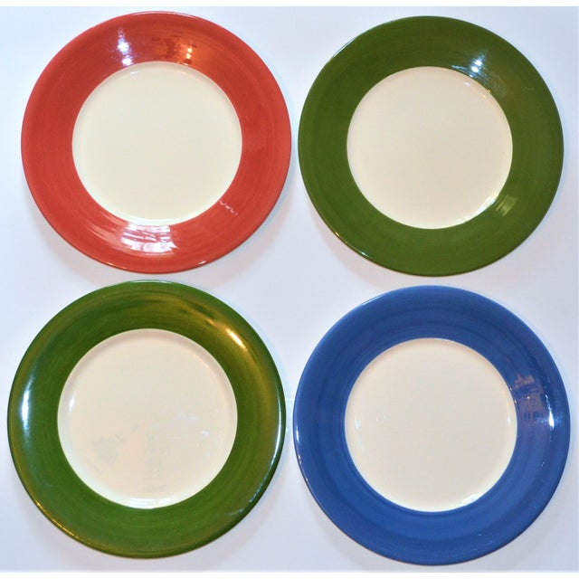 Contemporary Vintage French Gien Chop House Charger Plates - Set of 4 For Sale - Image 3 of 7