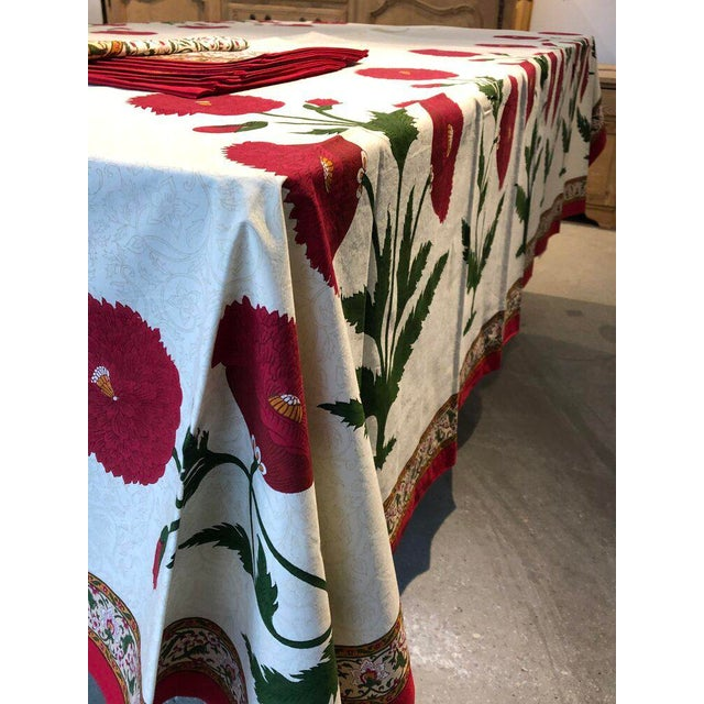 Brigitte Singh Hand Block Printed Tablecloth and Napkins - Set of 9 For Sale - Image 4 of 7