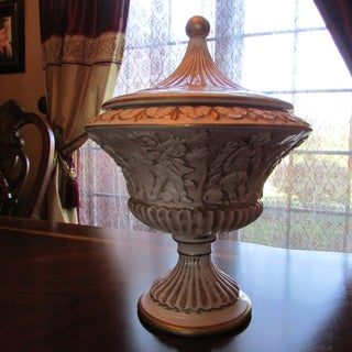 Vintage Ivory Brown and Gold Italian 1938 Compote Bowl & Lid Preview
