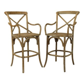 Restoration Hardware Pair Madeleine Armless Counter Barstools For Sale
