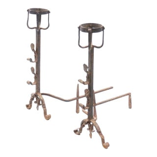 Large 19th Century French Wrought Iron Andirons - a Pair For Sale