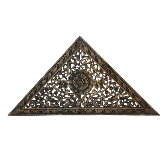 Asian Antique Burn Triangle Carved Panel Medium For Sale - Image 3 of 3