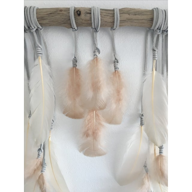 Nude & Cream Feathers on Driftwood Boho Chic Wall Hanging - Image 3 of 4