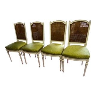 Early 20th Century Louis XV Painted Cane Chairs - Set of 4 For Sale