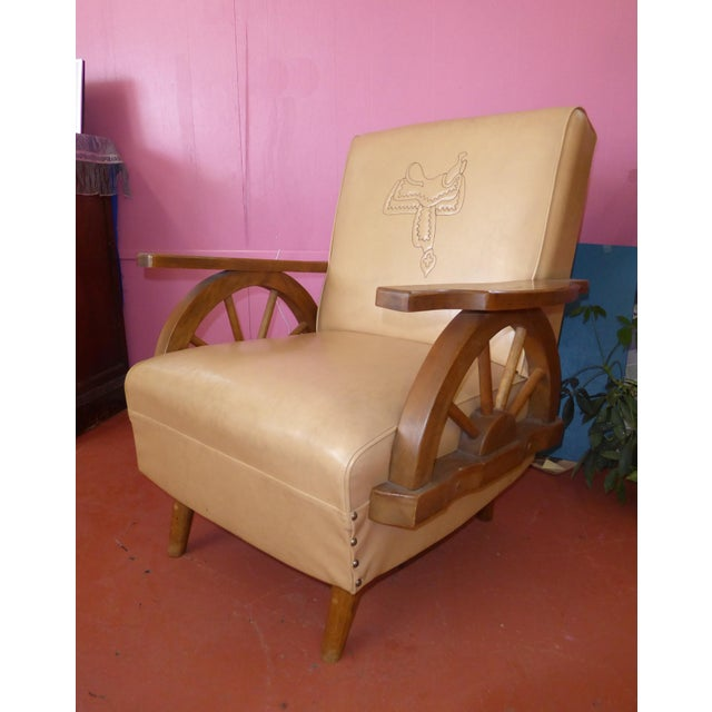 Plastic Vintage Western Cowboy Wagon Wheel Sleeper Sofa Rocking Chair A Pair For