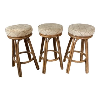 Vintage Bamboo Rattan Swivel Bar Stools 3 For Sale