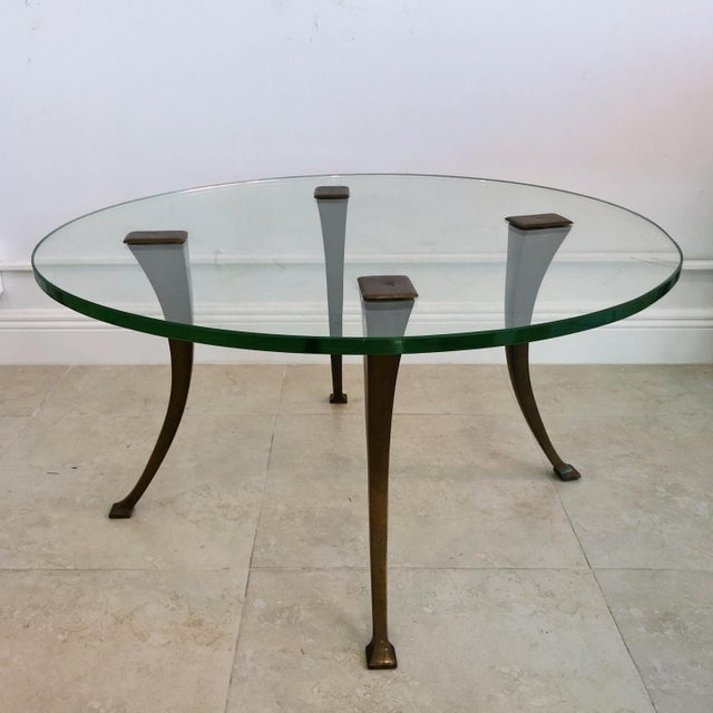 Bronze 1940's Vintage Bronze & Glass Circular Cocktail Coffee Table For Sale - Image 8 of 8