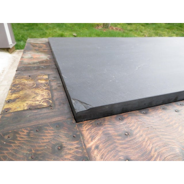 Mid 20th Century Paul Evans Mixed Metal Patchwork Slate Top Coffee Table For Sale - Image 12 of 13