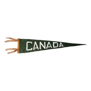 Vintage Canada Felt Souvenir Pennant Flag Green White Orange