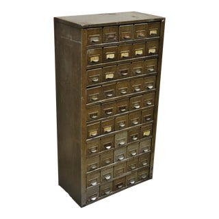Vintage Mid Century Industrial Steel Metal 50 Drawer Cabinet For Sale