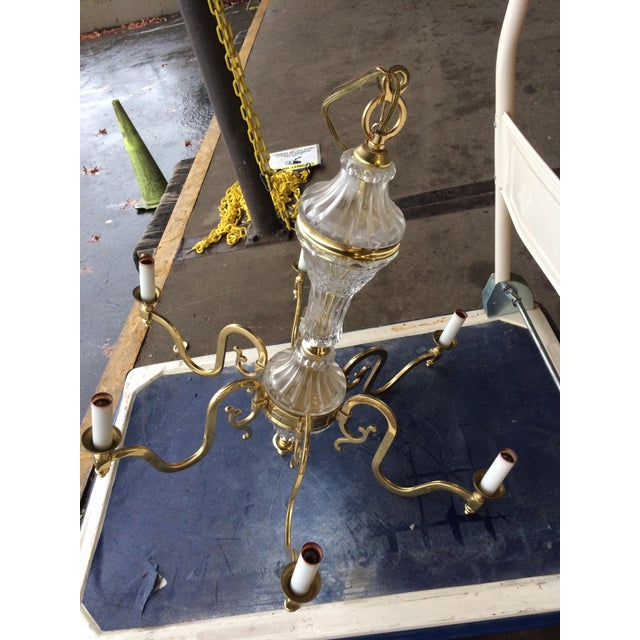 6 Arm Brass and Glass Chandelier - Image 2 of 3